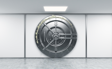 abundance: 3D rendering of a big locked round metal safe in a bank depository with dollars stuck out from behind the door,  a concept of abundance,  front view