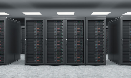data storage: 3D rendering of server for data storage, processing and analysis, rows of machines at work, front view