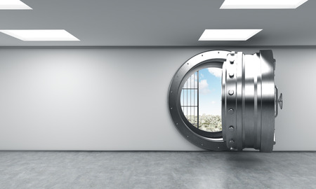 depository: 3D rendering of a big open round metal safe in a bank depository with blue sky inside, front view, a concept of opportunity and American dream