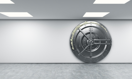 depository: 3D rendering of a big locked round metal safe in a bank depository with dollars stuck out from behind the door,  a concept of abundance, front view, right-centered Stock Photo