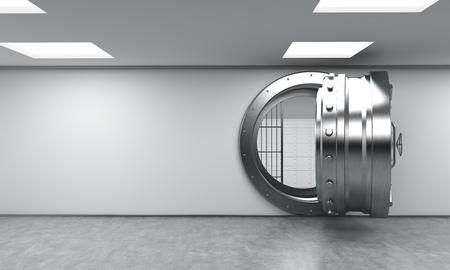 caja fuerte: Representaci�n 3D de un gran redondo de metal abrir la caja fuerte con el bloqueo de las cajas tras las rejas en un dep�sito bancario, de frente, copia espacio, el concepto de seguridad