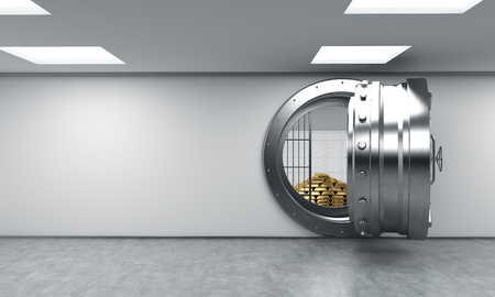affluence: 3D rendering of a big open round metal safe in a bank depository with locked lock-boxes and  a pyramid of gold bars,front view, a concept of affluence