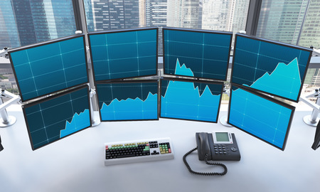 switched: 3D rendering of office with switched on monitors, processing data for trading, window at the background, singapore Stock Photo