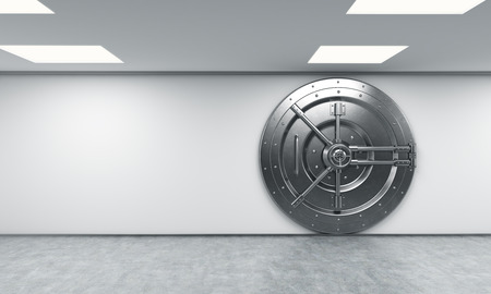 3D rendering of a big locked round metal safe in a bank depository,  a concept of security,  front view, right-centered Stockfoto