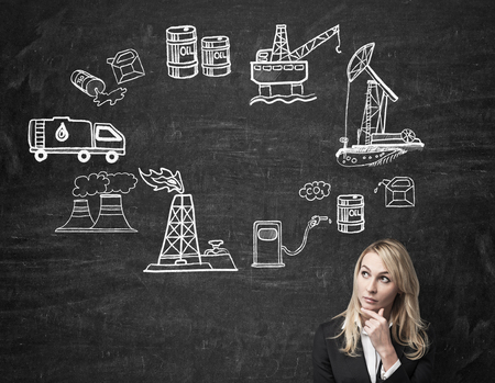oil industry: a woman standing in front of the wall with hand to the chin thinking about oil industry, illustration of oil industry components on a black wall arranged in a circle, concept of pollution
