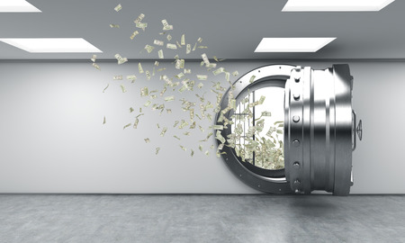 money flying: Representación 3D de un gran redondo de metal abierto y seguro en un depósito bancario con dinero volando hacia fuera de él, un concepto de la riqueza