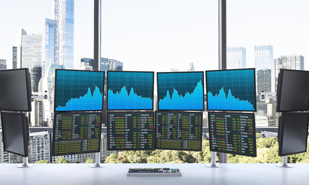 depository: 3D rendering of office with switched on monitors, processing data for trading, front view, window at the background, new york
