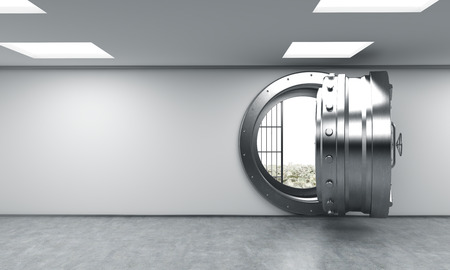 depository: 3D rendering of a big open round metal safe in a bank depository with money on the floor behind bars, a concept of saving wealth