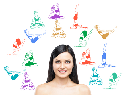 Young beautiful woman smiling looking in front thinking about taking up sport exercise, yoga, coloured illustrations of several exercises around her, white background, concept of healthy life