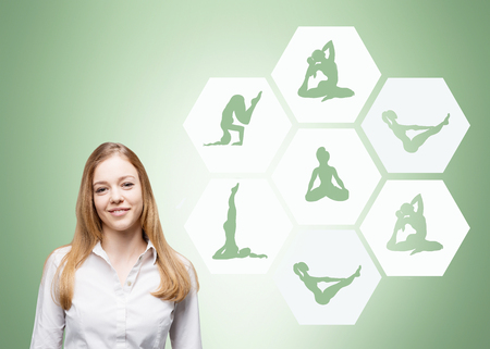 els: Young beautiful woman looking in front dreaming about  sport exercise, yoga, illustrations of several exercises ih hexagons to the right, concept of healthy life