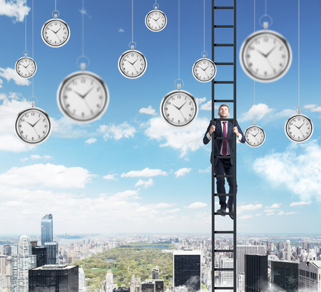 streamlining: young businessman climbing a career ladder, pocket watches hovering around, in the sky. New York at the background. Concept of time is money
