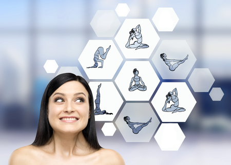Woman with eyes raised up dreaming about taking up sport exercise, yoga, illustrations of several exercises in hexagons to the right, blurred background, concept of healthy life