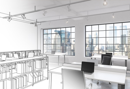 open space: Workplaces in a bright modern loft open space office. Tables equipped with modern computers; book shelves and tables partly drawn. New York panoramic view. Concept of high quality job. 3D rendering.