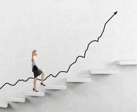 determined businesswoman climbing a carrer ladder, positive trend at the back, dark background, concept of success and career growth