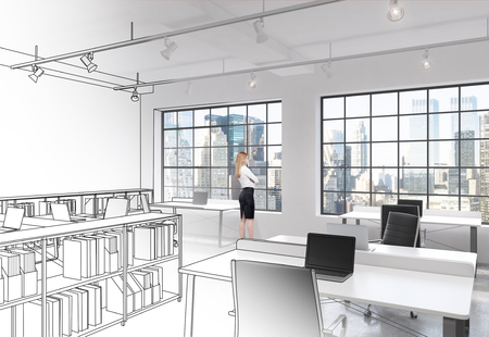 office space: Workplaces in a bright modern loft open space office. Modern computers on tables and book shelves partly drawn. Woman looking through the window. New York panoramic view. Concept of high quality job.