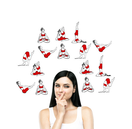 sport woman: Young beautiful woman finger to the mouth thinking about taking up sport exercise, yoga, red illustrations of several exercises around her, white background, concept of healthy life