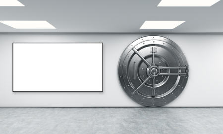 depository: 3D rendering of a big locked round metal safe in a bank depository, a concept of security, blank frame to the left, front view
