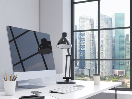note pad and pen: workplace in the corner, black computer, keyboard, mouse, smartphone, lamp, note pad, pen, pencil glass, coffee on the table, chair in front, window with Singapore view to the right. Concept of work