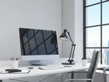 pad and pen: workplace in the corner, computer, keyboard, mouse, smartphone, lamp, note pad, pen, pencil glass, coffee on the table, chair in front, window to the right, city view, concept of work