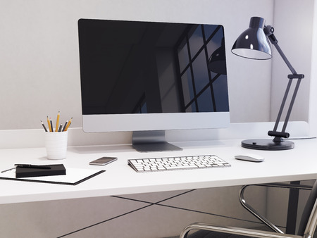 note pad and pen: workplace in the corner, computer, keyboard, mouse, smartphone, lamp, note pad, pen, pencil glass, coffee on the table, chair in front, window to the right, city view, concept of work