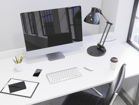 mouse pad: workplace in the corner, computer, keyboard, mouse, smartphone, lamp, note pad, pen, pencil glass, coffee on the table, chair in front, window to the right, city view, concept of work