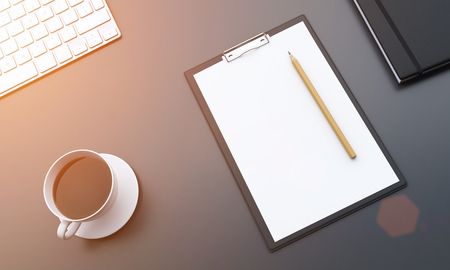 datebook: Frafment of a workplace with blank notepad with a pencil on it, a cup of black coffee to the left, a datebook to the right. Filter. Concept of work