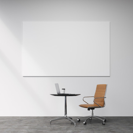 individual: A brown leather castor chair at a small table with a laptop and a glass of coffee on it, five lamps above. Concrete background with a white board on the wall. Concept of individual work. Stock Photo