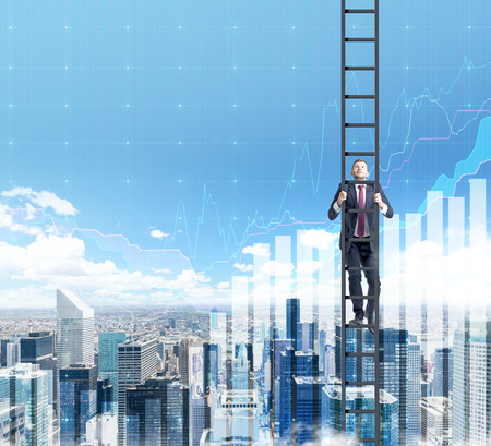 Successful young businessman climbing a ladder. Paris panoramic view and blue sky with almost transparent graphs at the background. Concept of career growth.