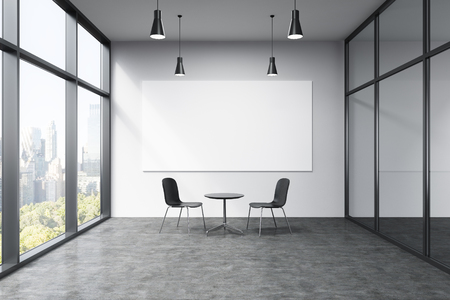 conversaciones: Empty office in a skyscraper, French window to the left, New York view, big white board on the white wall. A small black table and two black chairs at the wall, lamps above. Concept of talks. Foto de archivo