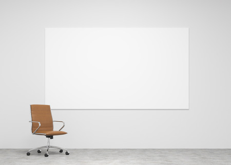 wellfare: A brown leather castor chair to the left at the concrete background, whiteboard on the wall. Concept of loneliness.