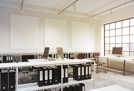 three shelves: Open space office, big window to the right, New York view, tables with computers, office chairs, shelves with folders, lamps on the ceiling, three white boards on the wall. Concept of work
