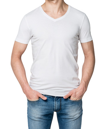 self assured: Man in a white T-shirt and jeans with hands in pockets, no face. White background. Front view. Concept of casual clothes.