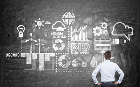 alternative energy sources: A man with hands on hips looking at symbols of alternative energy sources on a blackboard. Back view. Concept of clean environment. Stock Photo