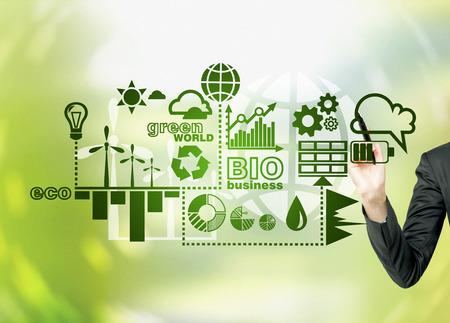 Een hand schilderen symbolen van alternatieve energiebronnen in het groen. Groene achtergrond. Concept van de schone omgeving. Stockfoto