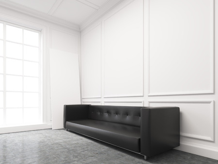 wall decor: A long black sofa standing at the white wall, three elements of wall decor in shape of rectangles over it. Light from the window to the left. Side view. Concept of interior design. 3D rendering Stock Photo
