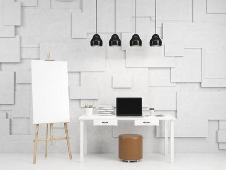 paleta: Un caballete junto a la mesa con algunos libros, l�pices y un ordenador port�til abierto, un puf en frente de la mesa, cuatro l�mparas sobre la mesa. Concepto de arte. representaci�n 3D