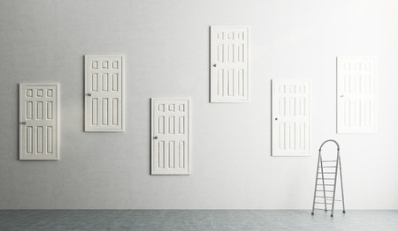 way out: A room with numerous closed doors in the walls at different height, step ladder at the wall. Concept of finding a way out. 3D rendering Stock Photo