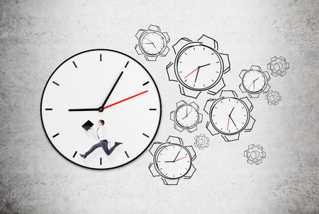 coping: Big clock with words instead of numbers, a man with a folder running inside the clock, six smaller clocks in shape of cog wheels to the right. Concrete background. Concept of coping with tasks on time.