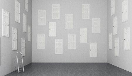 subconsciousness: A room with numerous closed doors in the walls at different height, step ladder at the wall. Concept of finding a way out. 3D rendering Stock Photo