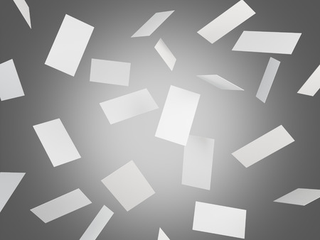 number card: Many blank business cards falling, grey background. Concept of business contact. 3D rendering