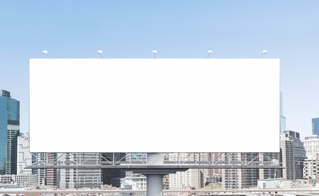 billboard blank: A huge blank billboard in the city centre at daytime. Front view. Concept of outdoor advertising. 3D rendering