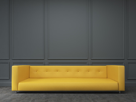A Long Yellow Sofa Standing At The Black Wall, Three Elements ...