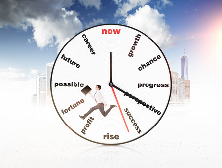coping: Big clock with words instead of numbers, a man with a folder running inside the clock, New York and blue sky at the background. Concept of coping with tasks on time. Stock Photo