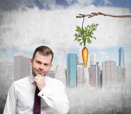 additional compensation: A young man with his hand on chin looking up at a painted carrot tied to a branch. Concrete background with a picture of New York. Front view. Concept of reward. Stock Photo