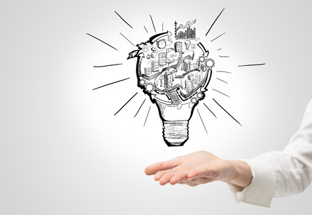 organizing: A hand as if holding a picture of a bulb with stages of organizing a business process in it. White background. Concept of organizing a business. Stock Photo