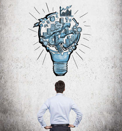 A man with hands on hips standing in front of a picture of a bulb with stages of organizing a business process in it. Concrete background. Back view. Concept of running a business.