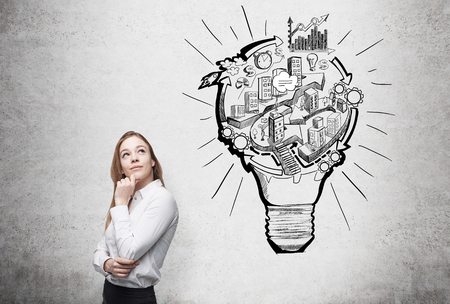 flexible business: woman thinking about work, a picture of bulb with stages of organizing a business process in it. Concrete background. Concept of running a business.