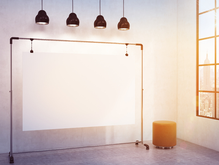 pouffe: portable blank white board in the corner of the room, window with a city view to the right, brown pouffe to the right, four black lamps above. Filter. Concept of demonstration. 3D rendering
