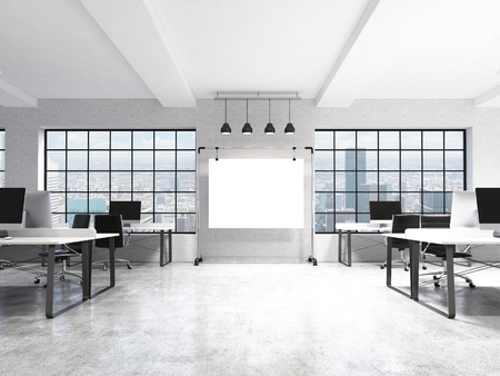 open windows: Two rows of computer tables in a light modern open space office, a big blank screen on the wall between the windows with Paris view, four lamps over it. Front view. Concept of work. 3D rendering.