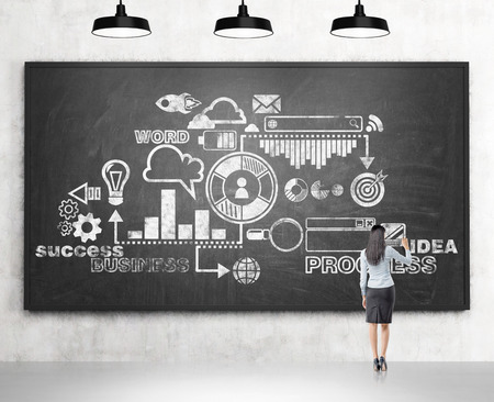 new product: A businesswoman drawing a business scheme on the blackboard, four lamps over it. Back view. Concrete background. Concept of devloping a business.